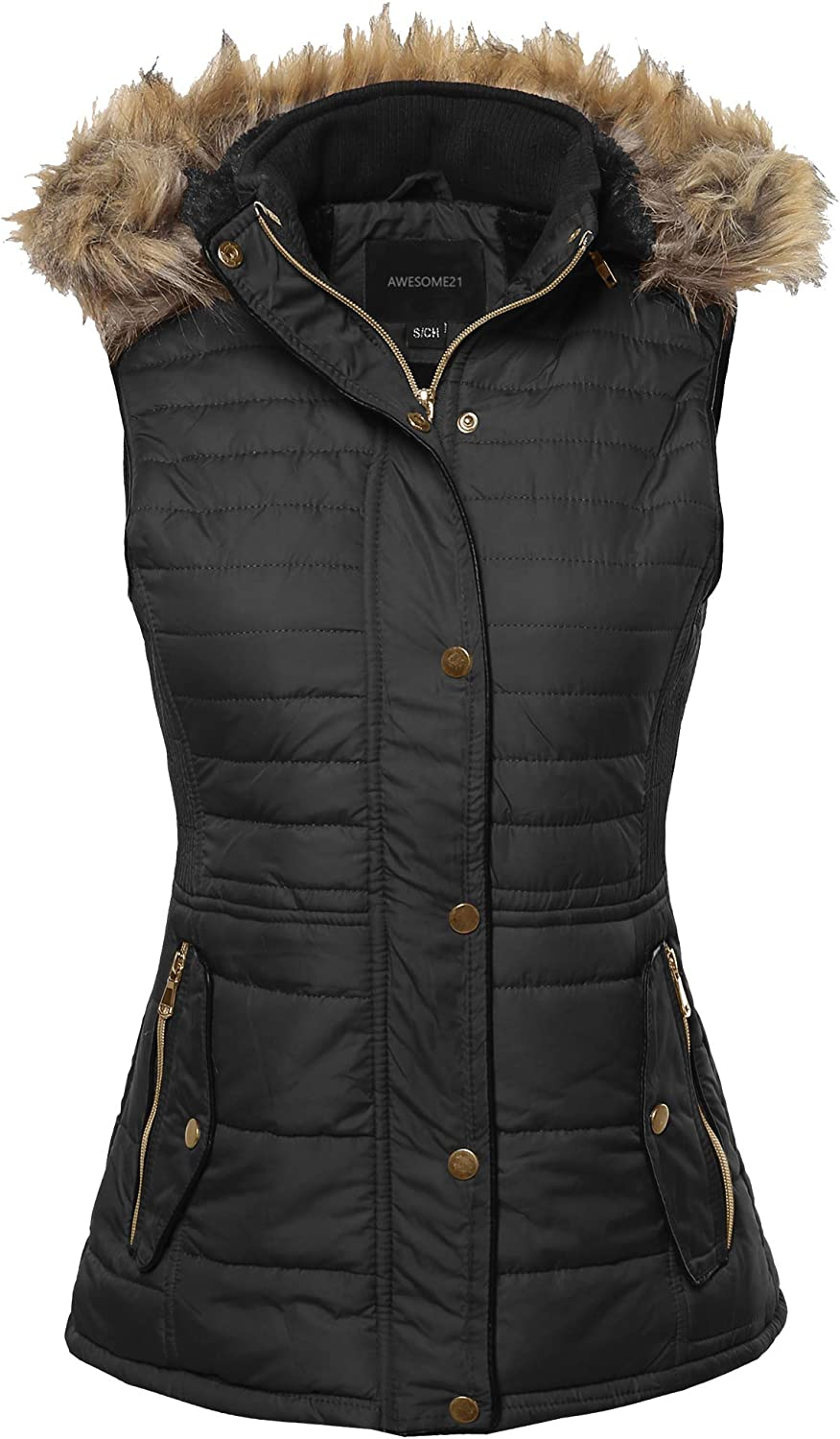 Awesome21 Women's Casual Solid Drawstring at Waist Anorak Vest with Detached Hoodie