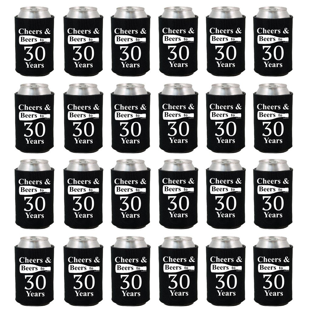 Shop4Ever Cheers & Beers to 30 Years Can Coolie Birthday Drink Coolers Coolies Black - 24 Pack