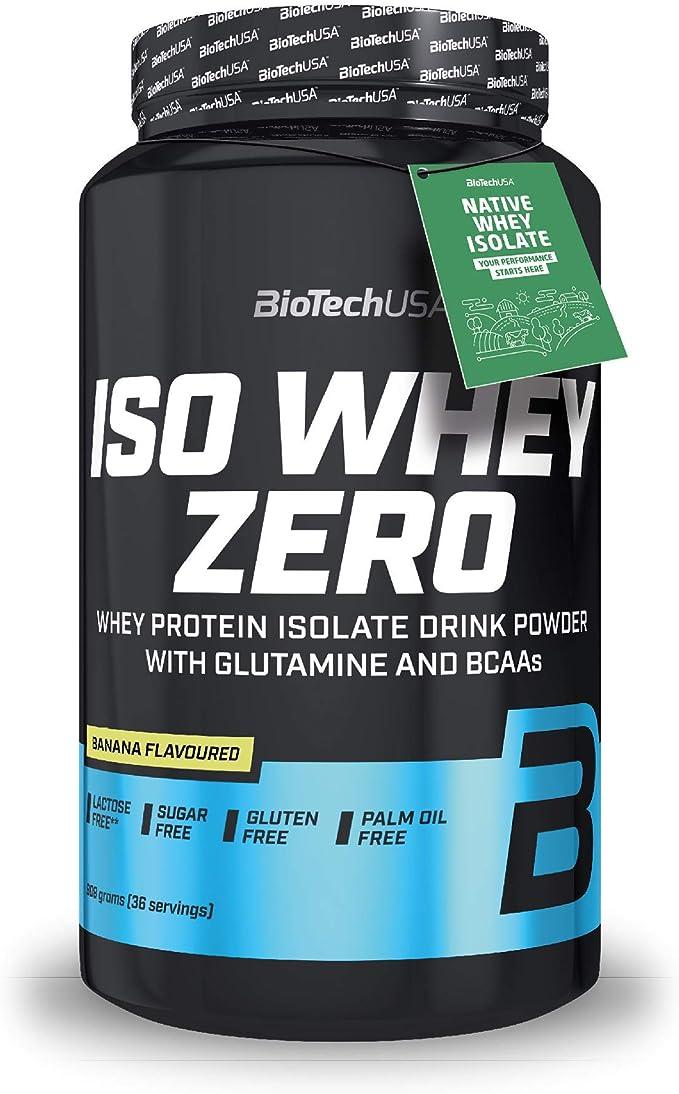BioTechUSA Iso Whey ZERO, Lactose, Gluten, Sugar FREE, Whey Protein Isolate, 908 g, Plátano