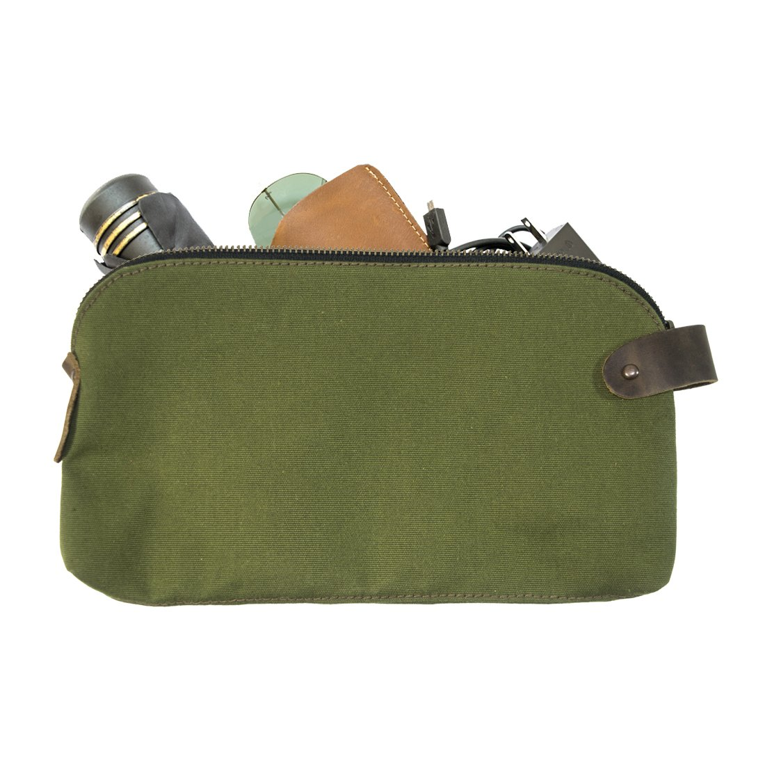 Water Resistant Canvas Large All Purpose Dopp Kit Utility Bag (Cords, Chargers, Tools, School / Office Supplies) Handmade by Hide & Drink :: Olive by Hide & Drink (Image #1)