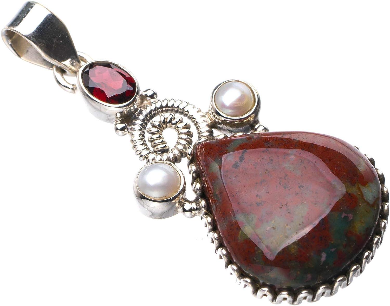 StarGems E0105 - Colgante de plata de ley 925, piedra natural de sangre, granate y perla de río, hecho a mano