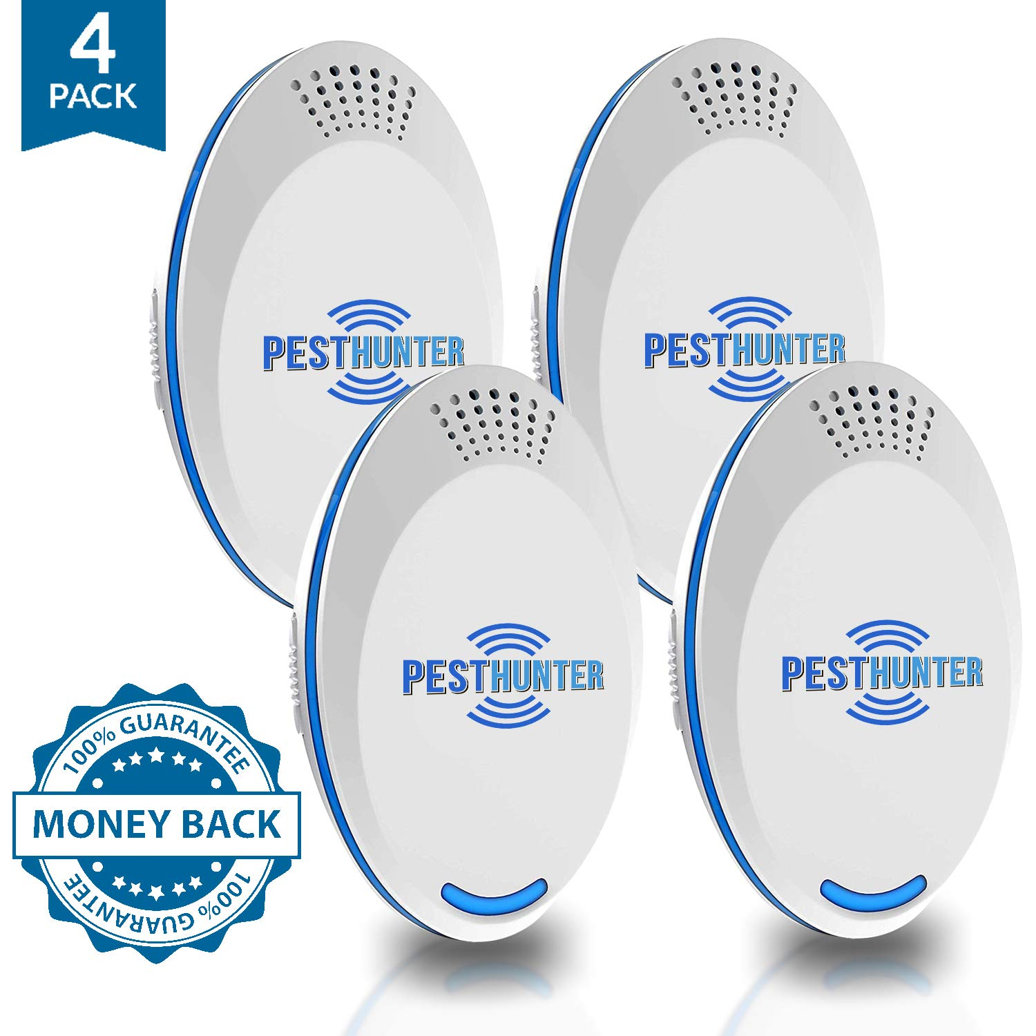 UPGRADED Ultrasonic Pest Defender - 2019 Plug in Pest Repeller (4-Pack) - Indoor Ultrasound Control Repellant - for Micе Rаts Mоsquitos Spidеrs Rоdents Insеcts by PestHunter