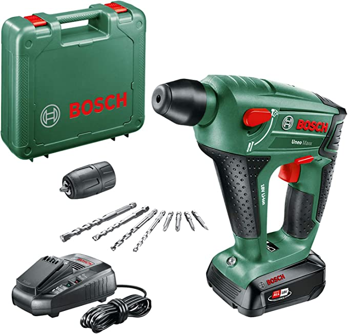 Bosch UneoMaxx - Martillo perforador a batería (1 batería, sistema de 18 V, en maletín): Amazon.es: Bricolaje y herramientas