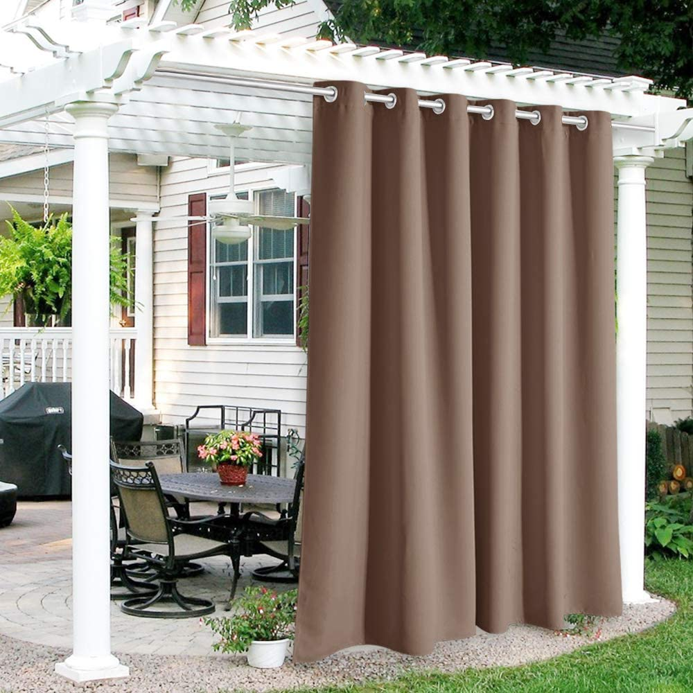 RYB HOME Outdoor Curtains Waterproof - Indoor Outdoor Patio Curtains Weatherproof Blackout Light Block Drapes for Outdoor Shower Pavilion Gazebo Porch, 1 Piece, 84 x 84 inches Long, Mocha