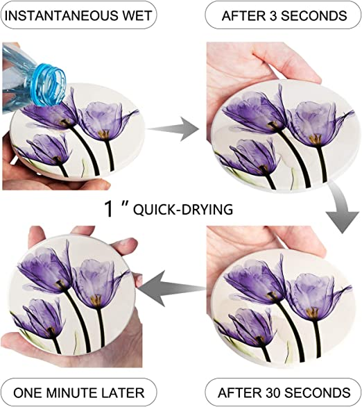 Tulip Decor Round Coasters Purple Home Decor Home Decor Dried Flower Art Spring Decor Functional Art Purple Tulip Round Coasters