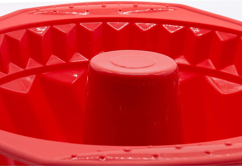 11 cm H/öhe /Ø 22 cm rot ZOLLNER24 Antihaft Silikon Gugelhupfform