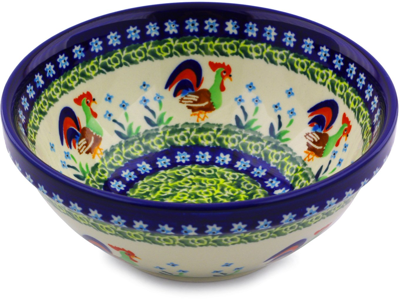 Polish Pottery Bowl 7-inch (Country Rooster Theme) Signature UNIKAT