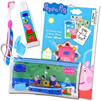 Peppa Pig Travel Kit With Peppa ToothBrush and Toothpaste In a Zippered Resealable Travel Bag Bundled With Peppa Pig Activity Set With Crayon, Stickers, And Mini Coloring Book