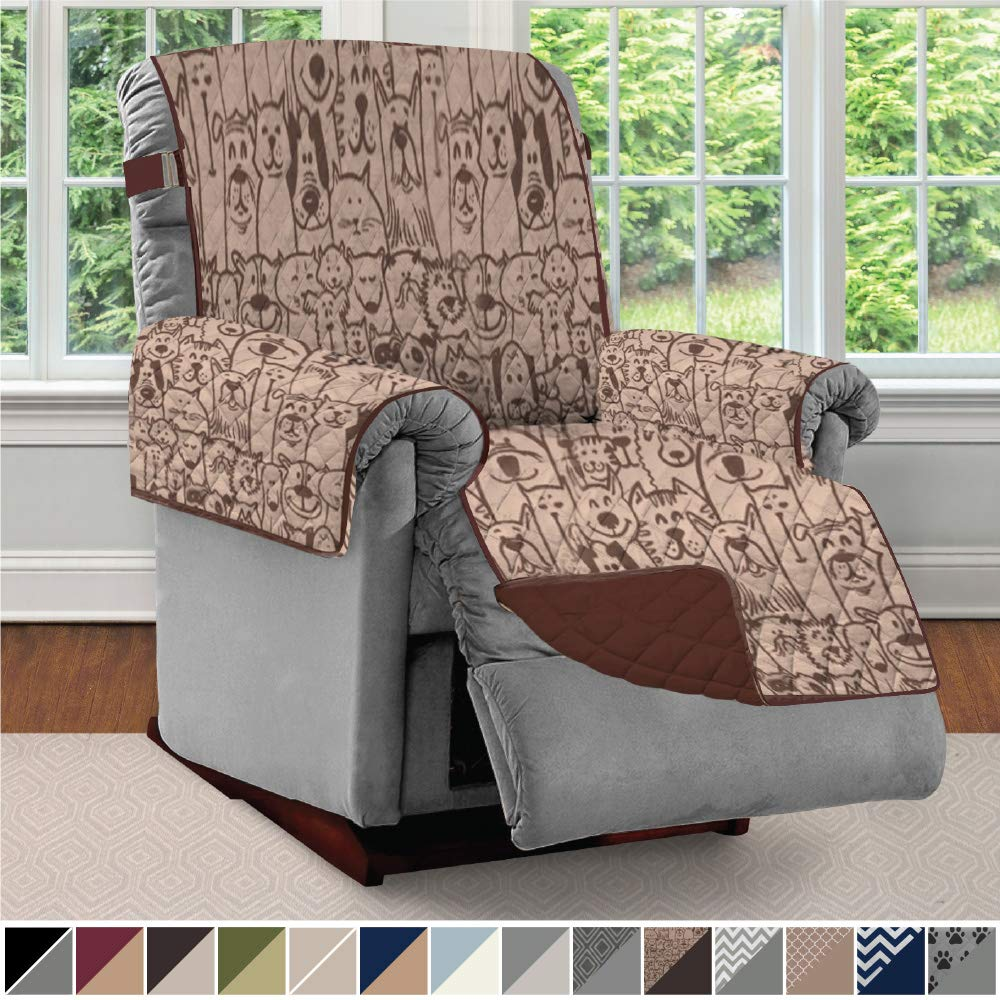 Sofa Shield Original Patent Pending Reversible Recliner Slipcover, 2 Inch Strap Hook Seat Width Up to 28 Inch Washable Furniture Protector, Slip Cover Throw for Pets, Kids, Recliner, Dog Chocolate