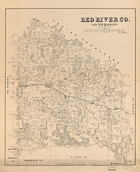 Amazoncom Vintage Map Of Red River Co Texas Shows Land - Us map red river