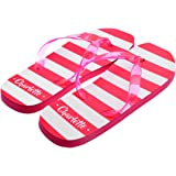 267e6f30bd45 Personalised Pink   White Striped Ladies Flip Flops with First Name UK Size  6-8
