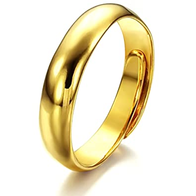 ONEWORLD Women Copper Ring With 18K Gold Plating Concise Wedding Band 3.6Mm Round Size Adjustable eUCmmbUX
