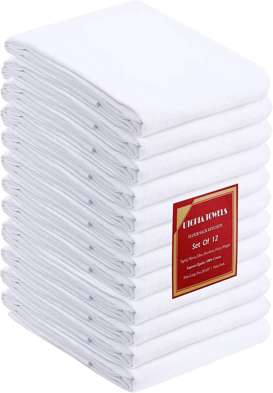 GG 6x Soft White Cotton Flour Sack Kitchen Dish Cloth Catering Restaurant Tea Towel 28x28