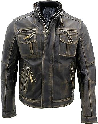Men/'s Biker Slim Fit Cafe Racer Retro Moto Vintage Motorbike Real Leather Jacket