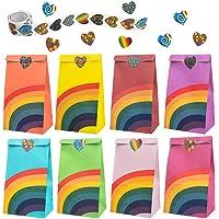 Wodasi Cadeauzakjes, 40 stuks, feestzakjes, regenboogiris, papieren zakken met een rol van 100 stickers voor kinderen…