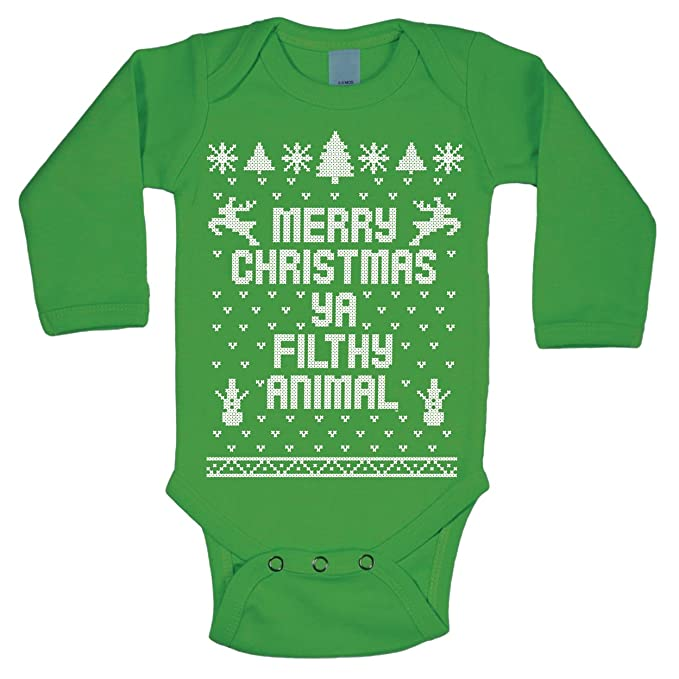 amazoncom merry christmas ya filthy animal ugly christmas sweater contest party xmas baby long sleeve one piece clothing - Merry Christmas Ya Filthy Animal Onesie