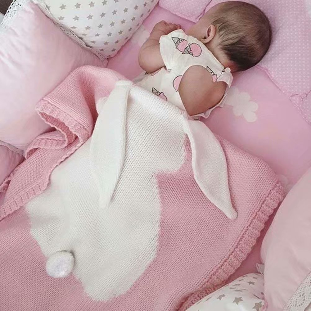 Baby Knitted Cotton Blanket for Summer VMAE Cute Rabbit Soft Cozy Quilt Newborn Blanket Baby Bedding Cover Bath Towels with Bunny Ears for Infant and Kids Pink