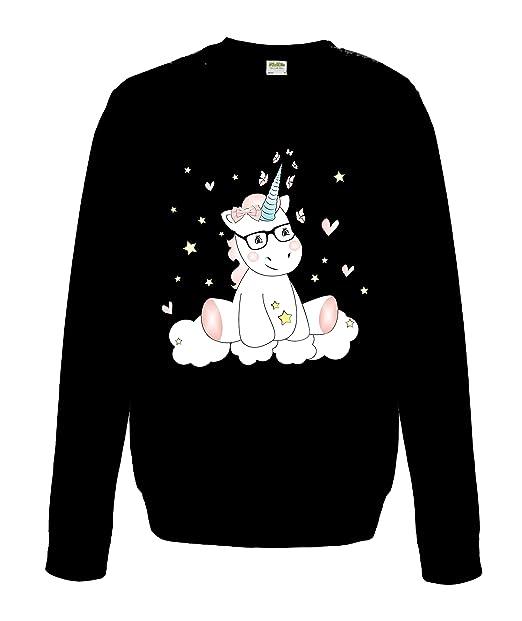 Sudadera Dama Eatshirt Camisa Mujeres Suéter Jersey Unicornio Unicornio Cutie con Gafas - Negro, XS: Amazon.es: Ropa y accesorios