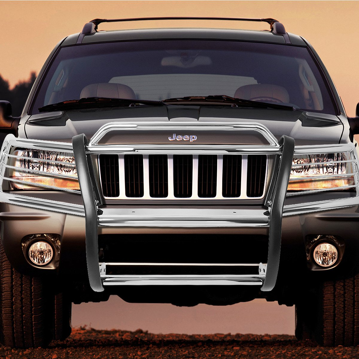 For 99-04 Jeep Grand Cherokee WJ DNA Motoring GRILL-G-044-SS Front Bumper Brush Grille Guard