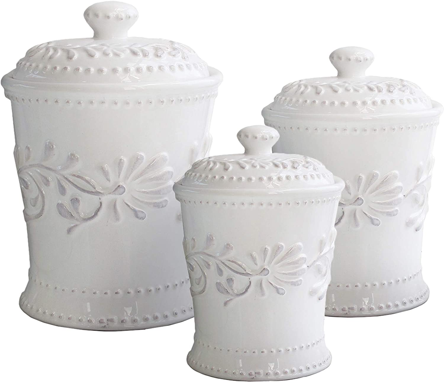 Amazon Com American Atelier Bianca Leaf Canister Set 3 Piece Ceramic Jars In 20oz 48oz And 80oz Chic Design With Lids For Cookies Candy Coffee Flour Sugar Rice Pasta Cereal More Kitchen