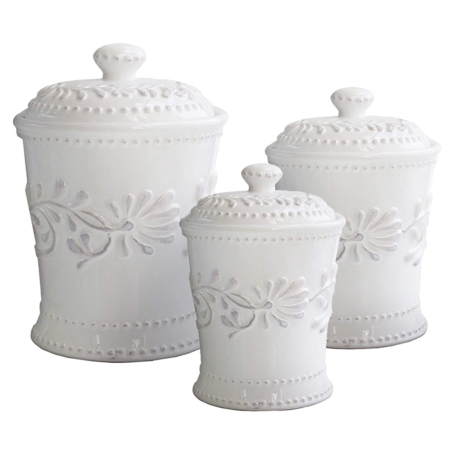 American Atelier 1564326CANRB Bianca Leaf 3 Piece Ceramic Canister Set with Lids 80 oz./48 oz./20 oz. White