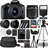 Canon EOS 2000D / Rebel T7 Digital SLR Camera Body w/Canon EF-S 18-55mm f/3.5-5.6 Lens 3 Lens DSLR Kit Bundled with Complete