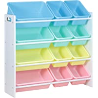 Class Kids' Toy Storage Organizer with 12 Plastic Bins,Pastel Color, Perfect Fit for Toddlers, Easy to Assemble, Great Storage Medium- CL16JWTR-1001