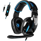 Gaming Headset for Xbox One,SADES SA816 Gaming Headset for PC, Xbox one, PS4 Controller, Noise Cancelling Over Ear Headphones with Mic, Bass Surround, Headphones for Laptop Computer