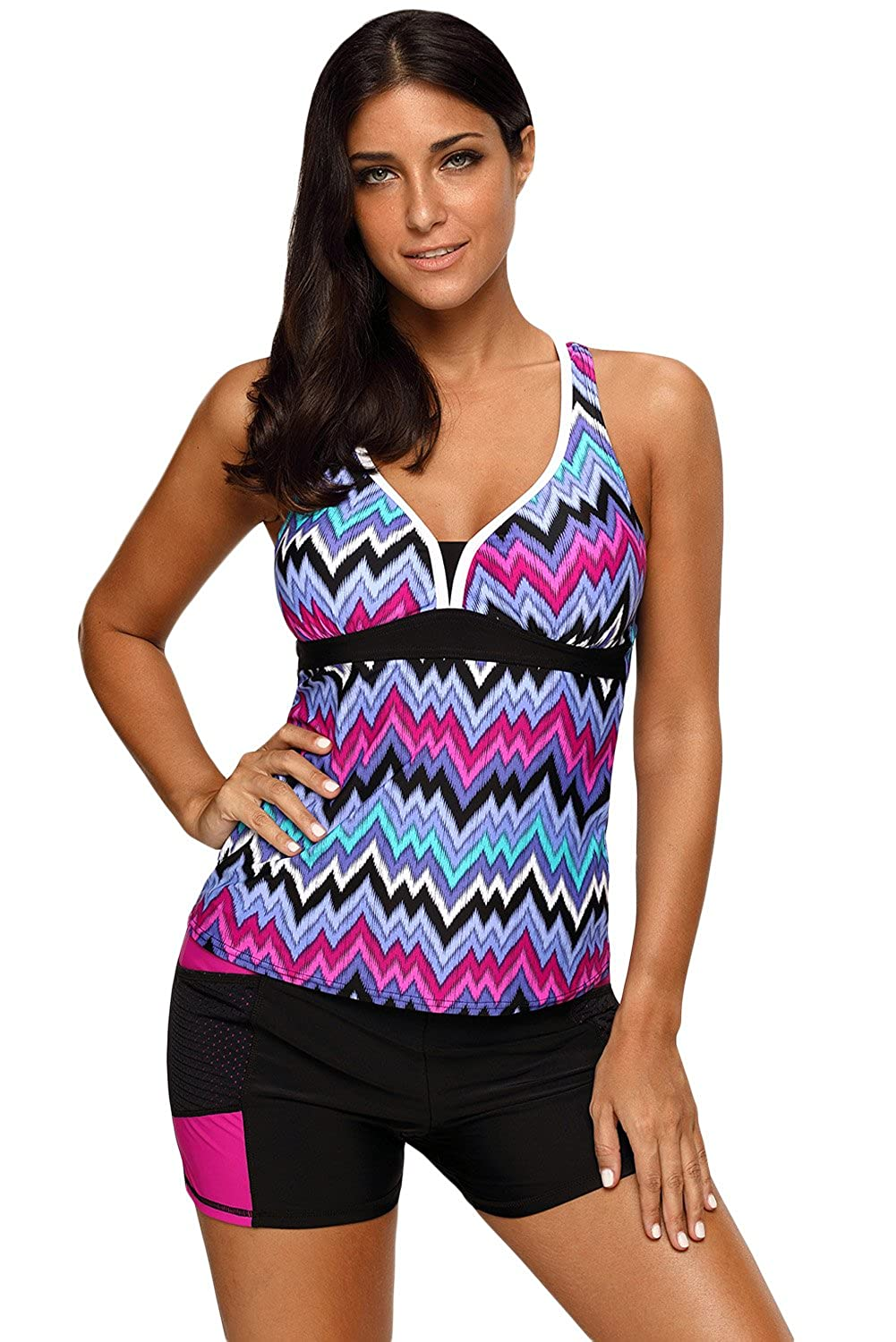 b05cd09965d2a Tankini Swimsuit for women Plus size with boyshorts, The multicolor design  is to make you the most attention-getting person on the beach