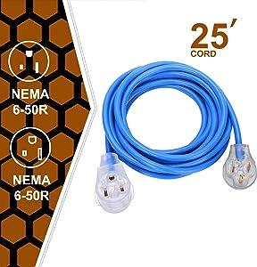 Welder Extension Cord, 50A plug 3-Prong 250-Volt, 6-50P/6-50R SJT 3/C 12AWG(Replaceable 8AWG) Blue Welder Extension Cords(25') Welding Machine Heavy Duty Cords …