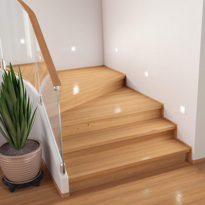 8,5x8,5cm ledscom.de LED Staircase Light FEX Recessed Wall Light 10 Pcs Warm White Angular 230V