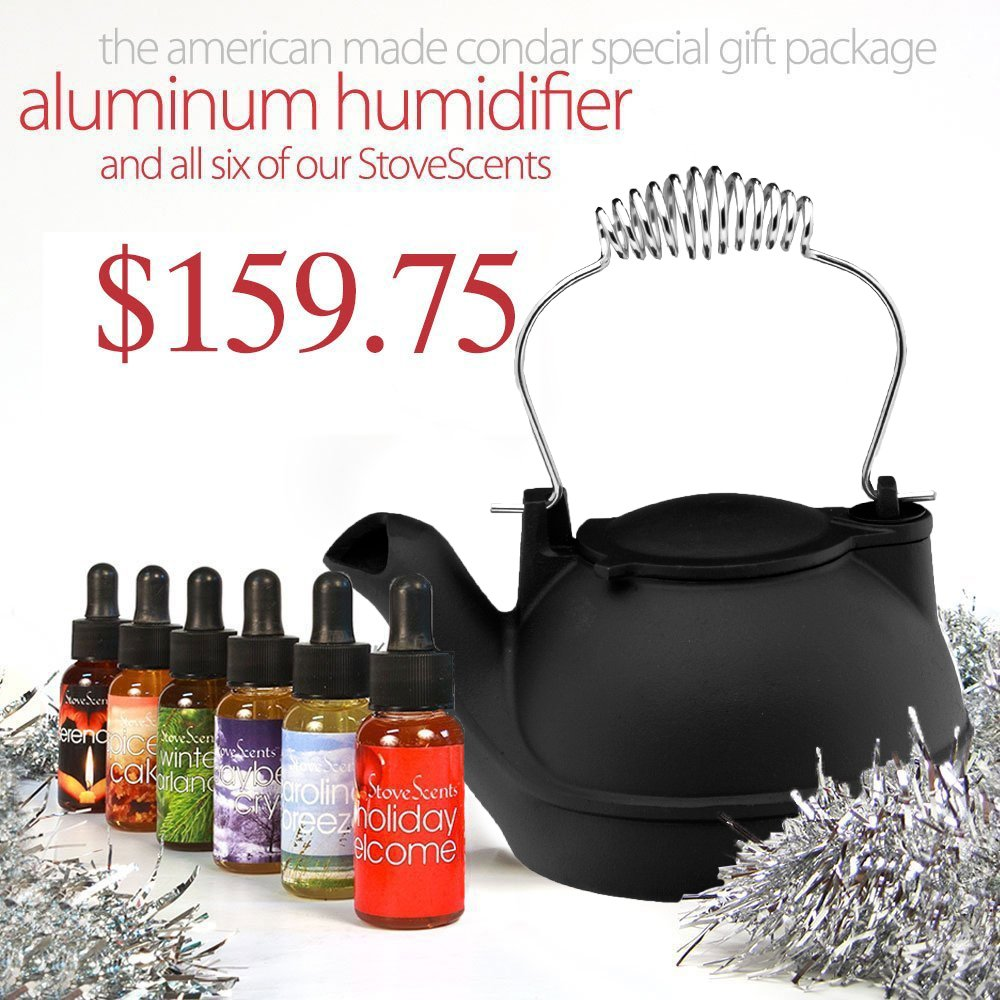 Holiday Special Gift Package (HK-BC6) – MATTE BLACK Cast Aluminum Half-Kettle Steamer with CHROME Handle and SIX Stove Scents