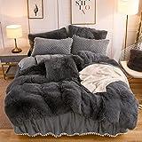 LIFEREVO Luxury Plush Shaggy Duvet Cover Set (1 Faux Fur Duvet Cover + 2 Pompoms Fringe Pillow Shams) Solid, Zipper Closure (Queen, Dark Gray)
