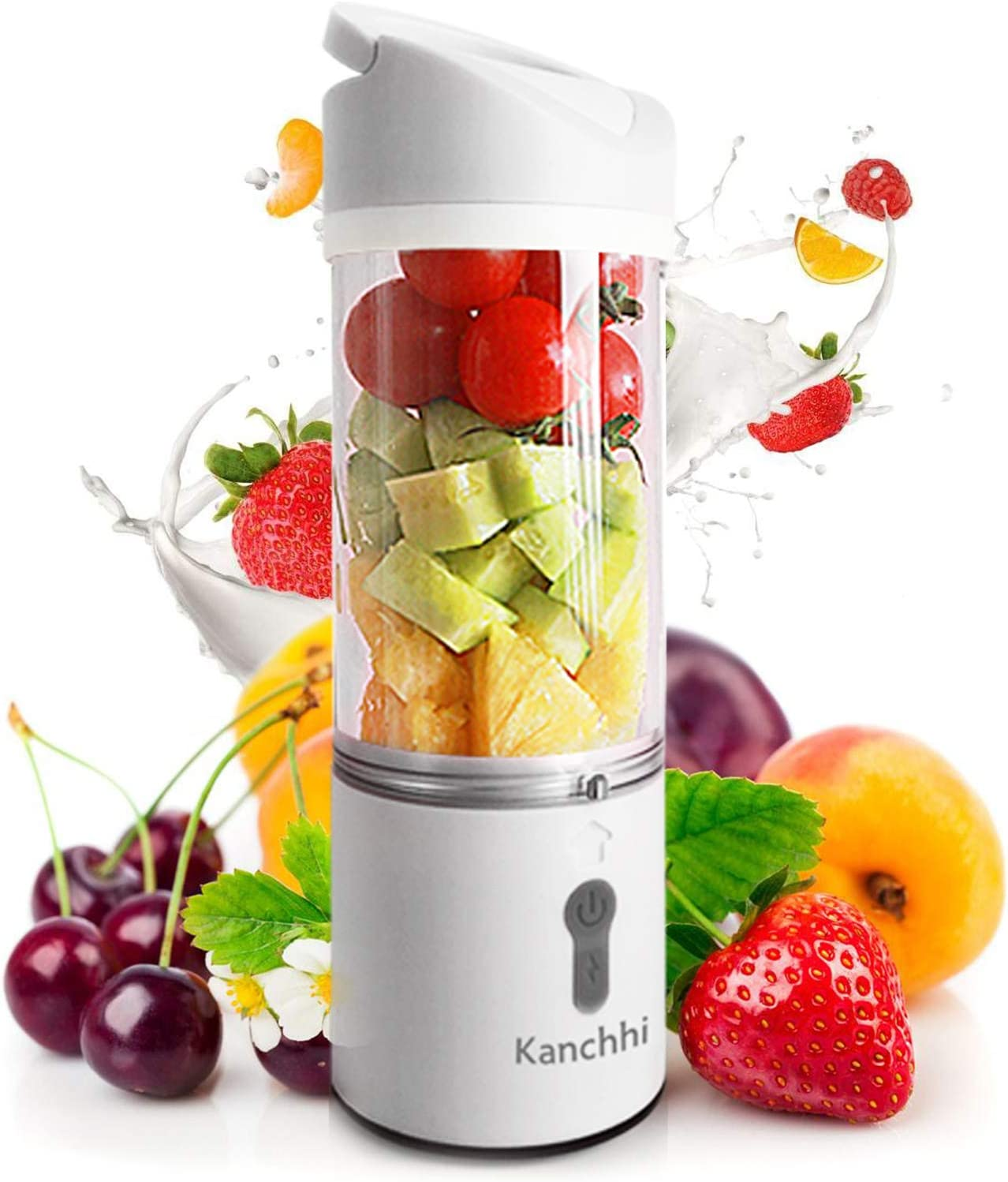 Portable Personal Blender, Smoothie Portable Blender With 4 Blades, Juicer Cup USB Rechargeable Mini Blender 11Oz Fruit Mixing Machine For Juice, Shaker, Smoothies, meat (White)