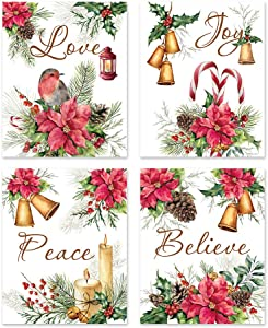 "Jingle Bell Christmas Canvas art print,Vintage Xmas lettering Wall Art Set Of 4(8""X10"", Unframed),Red Poinsettia Flowers Pine Cone Poster For Bedroom Living Room Playroom Holiday Party Home Decor"