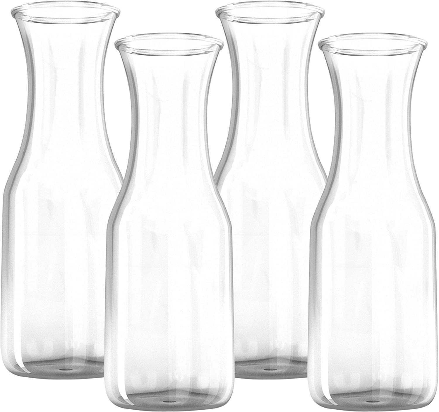 34 Oz Glass Carafe 4 Pack Drink Pitcher And Elegant Wine Decanter Comfortable Grip With Narrow Neck Design Wide Opening For Easy Pouring Great For Parties And Events 1 Liter Kitchen Lux Wine Decanters