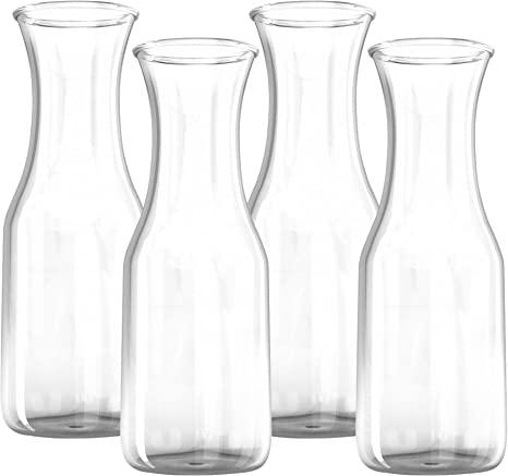 Kitchen Lux Wide Mouth For Easy Pouring Narrow Neck For Comfortable Grip 1 Liter Glass Carafe Elegant Wine Decanter and Drink Pitcher Great for Parties and Events 4 Pack
