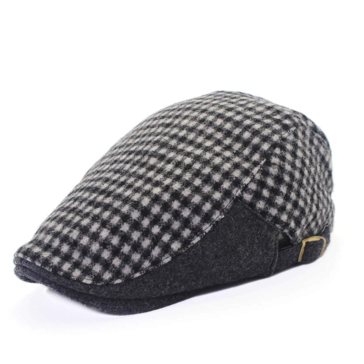 outfly Unisex Duckbill Flat hat Vintage Newsboy Wool Gatsby Flat Cap Men's Winter Berets B11026-B