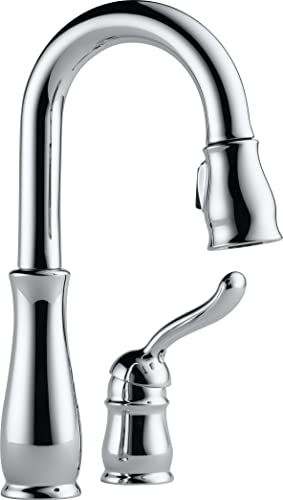 Delta Faucet Leland Single-Handle Bar-Prep Kitchen Sink Faucet with Pull Down Sprayer and Magnetic Docking Spray Head, Chrome 9978-DST