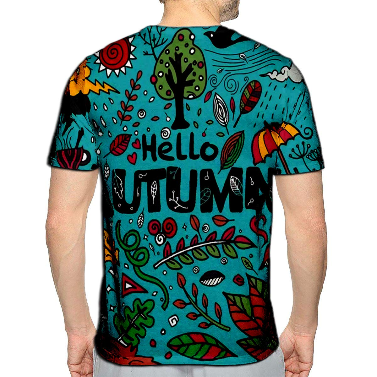 3D Printed T-Shirts Sketchy Doodle Cartoon Objects and Symbols On The Autumn The