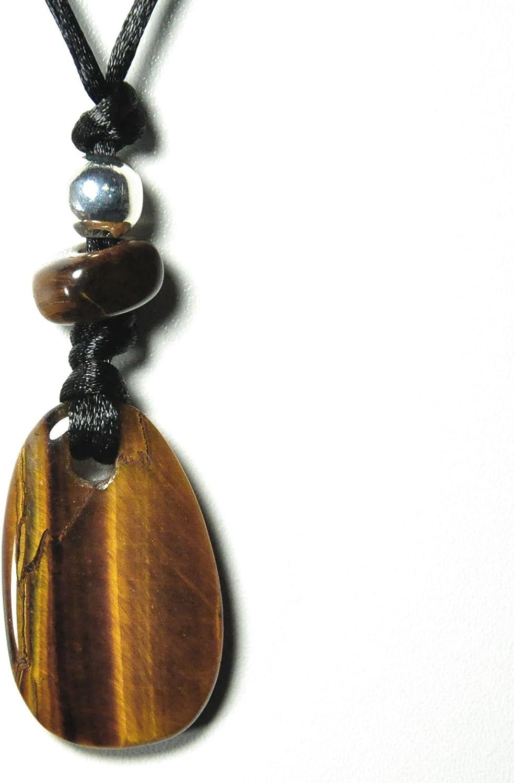 Ojo del tigre - Cadena - colgante con forma de cinta de tela - joyas de piedras preciosas, objeto de piedra de la suerte