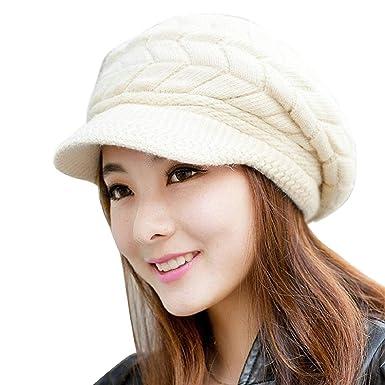 Tuopuda Hat Womens Winter Knit Beanie Hat Beret Cap Warm Women Cap Winter Wool  Hat with Visor (Beige)  Amazon.co.uk  Clothing 389dc3edf8c