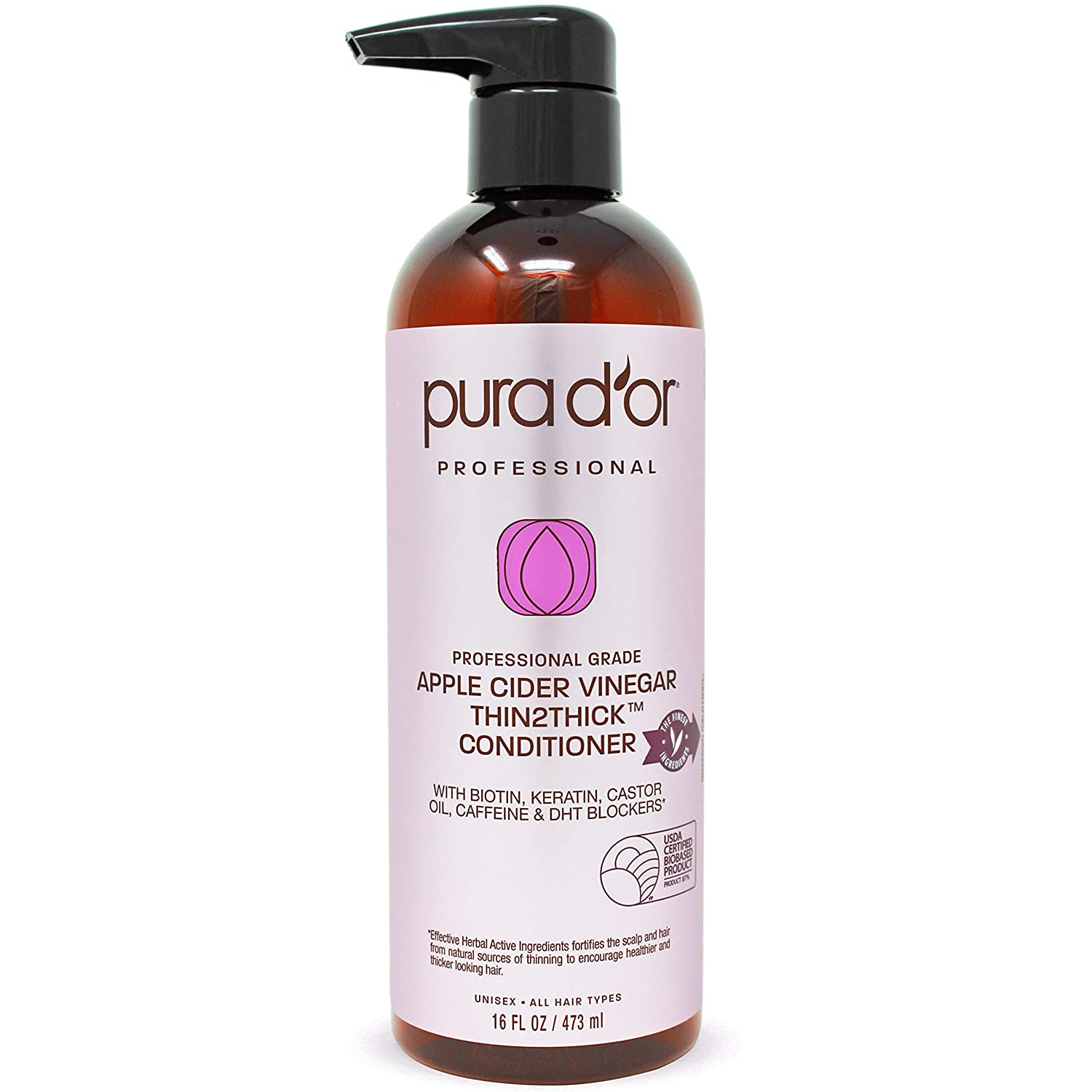 PURA D'OR Apple Cider Vinegar Thin2Thick Conditioner - With Biotin, Keratin, Caffeine, Castor Oil & Key Active Ingredients - For All Hair Types, Men and Women, 16 Fl Oz
