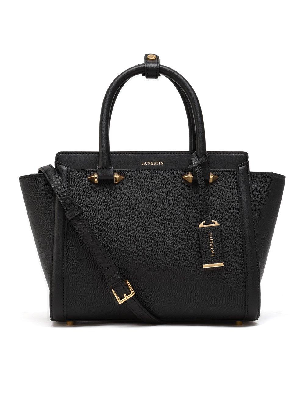LA'FESTIN Tote Purses and Handbags for Women Black Leather Large Shoulder Bags