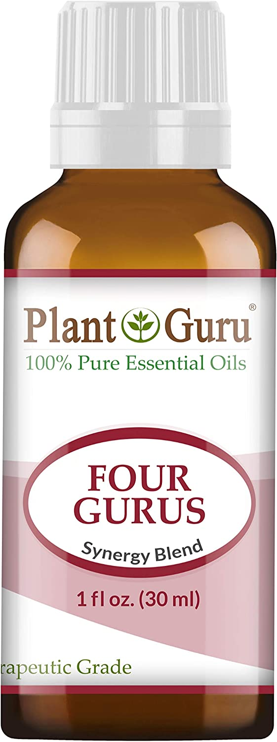 Four Gurus Essential Oil Blend 1 oz / 30 ml 100% Pure Natural Therapeutic Grade Blended with Clove, Cinnamon, Lemon, Rosemary Eucalyptus for Aromatherapy Diffuser and Immune Support