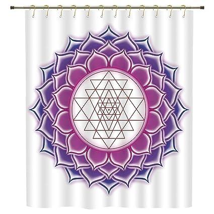 IPrint Shower CurtainLotusSacred Geometry Yantra Mandala With Triangle Figures Spiritual Yoga Illustration