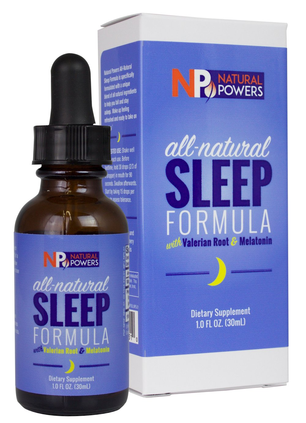 Natural Powers All-Natural Sleep Formula with Valerian Root & Melatonin - Liquid for Fast Absorption - 1 FL OZ. (30mL)