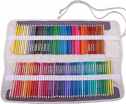 abaría - Juego de 2 bolsa organizador para 100 lápices colores, cuchillo, borrador - Estuche plegable y bolsas de cuerdas pequeña - Portalápices de lona per infantil adulto (No Incluyendo los Lápices):
