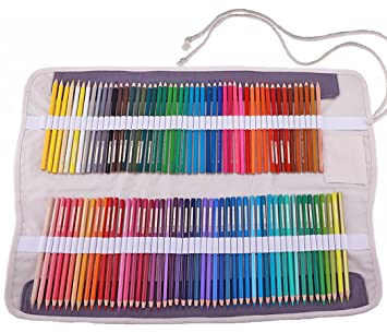 abaría - Juego de 2 bolsa organizador para 100 lápices colores, cuchillo, borrador - Estuche plegable y bolsas de cuerdas pequeña - Portalápices de ...