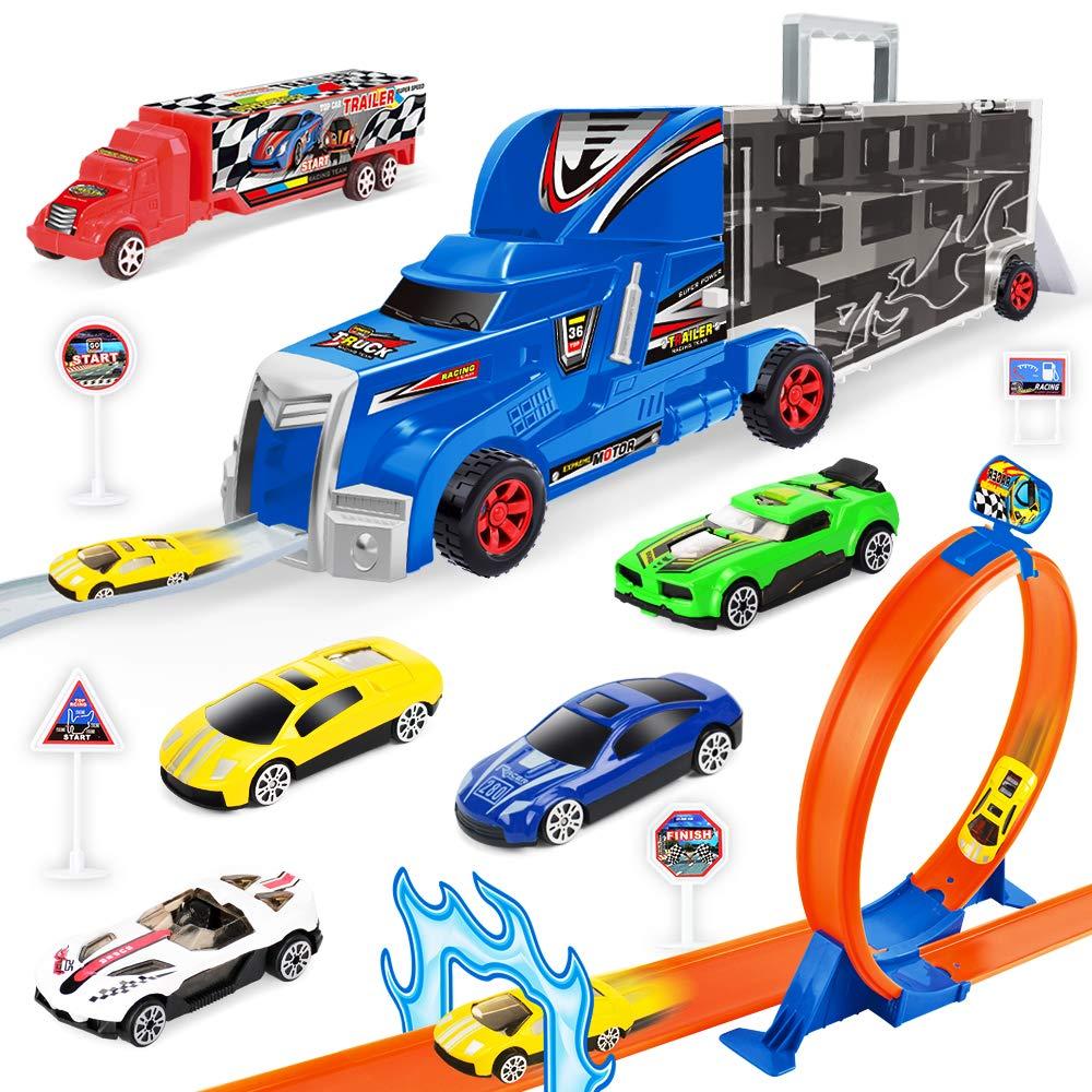 Zmh Expulsion Carril Contenedor Camion Juguete Modelo Carro Portatil